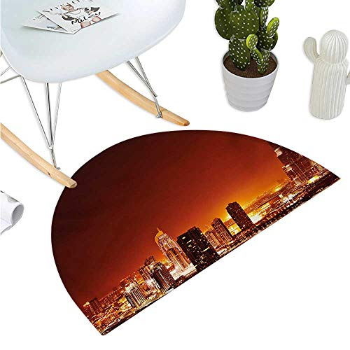 Landscape Half Round Door mats Arabic Dubai Downtown with Cityscape Skyscrapers Sunset Middle East City Photo Entry Door Mat H 27.5