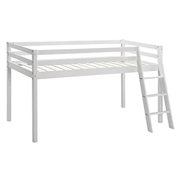 ceb0efa87730 Unmatchable Kids Bunk Bed Mid Sleeper Wooden Pine Cabin Bed with Ladder  (White)