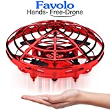 Flying Ball,RC Flying Toy, Mini Drone RC Helicopter Hand Controlled Infrared Induction Flying Toys with 2 Speed Auto-Avoid Obstacles 360°Rotating Light Kids Toys Christmas Birthday Gifts (CH-140-Red)