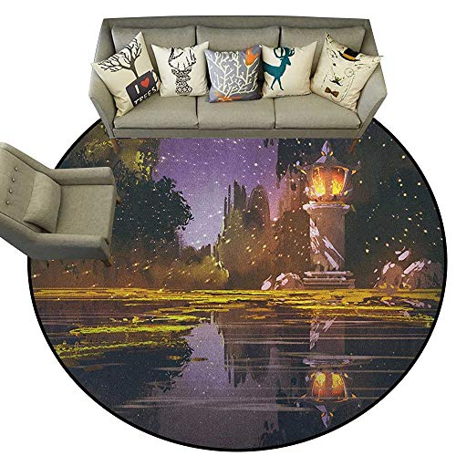 Landscape,Runner Rugs Idyllic Scenery at Night with a Stone Lantern Fireflies and Forest Trees Swamp D78 Soft Floor Mats for Bedroom Living Room