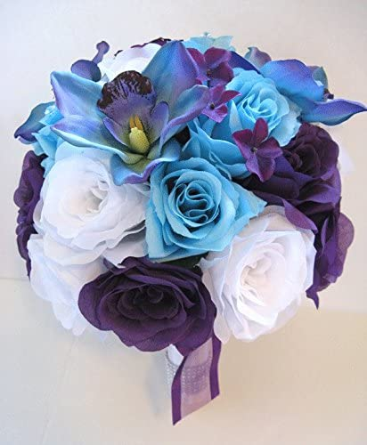 Amazon Com Wedding Silk Flowers Bouquet Bridal Purple White Aqua Blue Orchid 17 Piece Package Artificial Flower Arrangement Centerpieces Rosesanddreams Home Kitchen