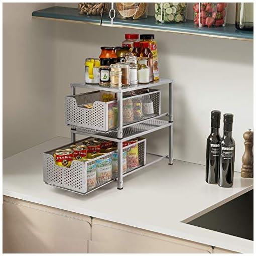 Kitchen Simple Trending Under Sink Cabinet Organizer with Sliding Storage Drawer, Desktop Organizer for Kitchen Bathroom Office… pull-out organizers