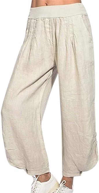 Worclub Pantalones Cortos de algodón y Lino para Mujeres, Pantalones de Cintura Alta y Talla Grande, Pantalones Capri: Amazon.es: Ropa y accesorios