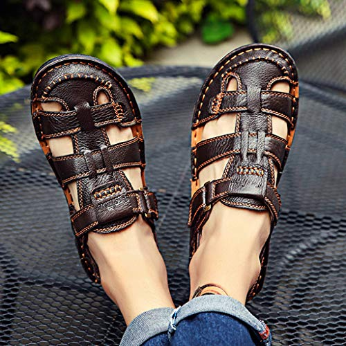 Summer Men's Sandals,Summer Mens Leather Sandals Flats Beach Walking Non-SlipSoft Bottom Casual Shoes by Tronet Sandals (Image #6)