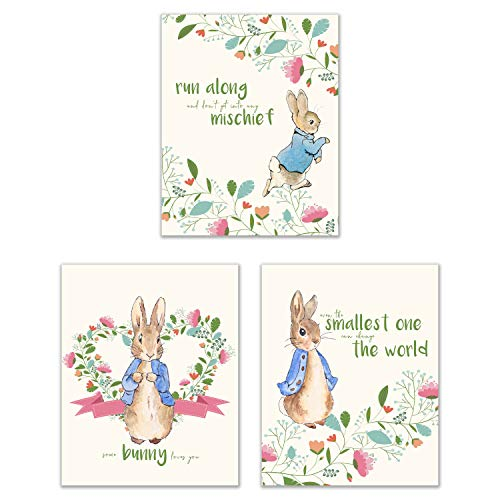 [해외]Peter Rabbit Nursery Prints - Set of 3 (8x10) Adorable Classic Family Quotes Botanical Floral Wall Art Decor / Peter Rabbit Nursery Prints - Set of 3 (8x10) Adorable Classic Family Quotes Botanical Floral Wall Art Decor