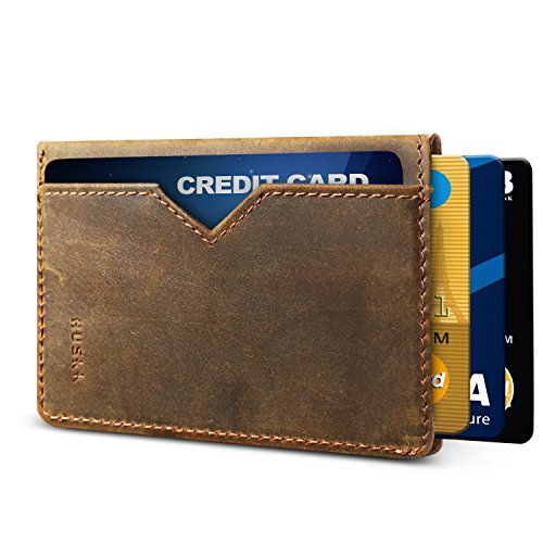 Slim RFID Wallets for Men Leather - Front Pocket Card Holder Sleeve - RFID Blocking,Dark Brown[csc6-dbch-rfid],OneSize