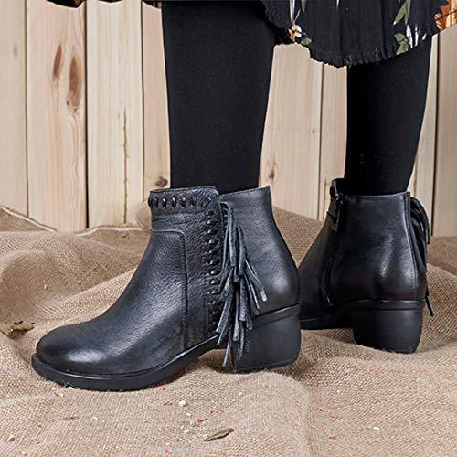 carré pompon bleu femmes à talon bottines cowboy 36 western et Seraph 42 taille FY7d8Aqq