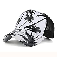 Baseball Hat,Haoricu 2017 New Women Men Fashion Coconut Tree Printing Baseball Cap Summer Beach Ladies Snapback