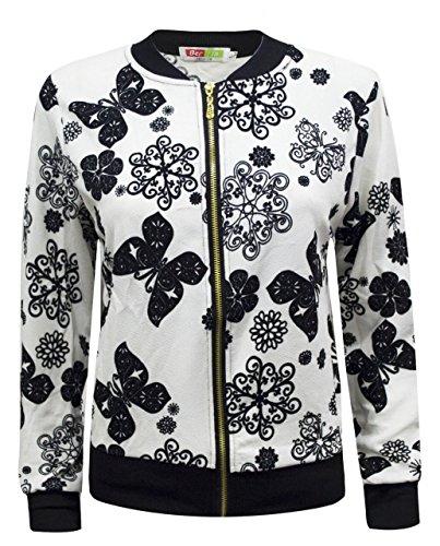 amp; Fashion para Black White Hipster Chaqueta Butterfly Destination Mujer nzqxwYTU