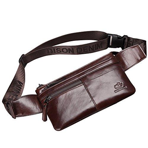 BISON DENIM Bolso de cintura de cuero genuino Messenger Fanny Pack Bum Bag W2443-Marrón-1ZX