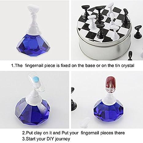 Rokoo 1 Set Tablero de Ajedrez Punta Magnética de Arte de Uñas Soporte de Cristal Establece Salon Display Holder: Amazon.es: Hogar
