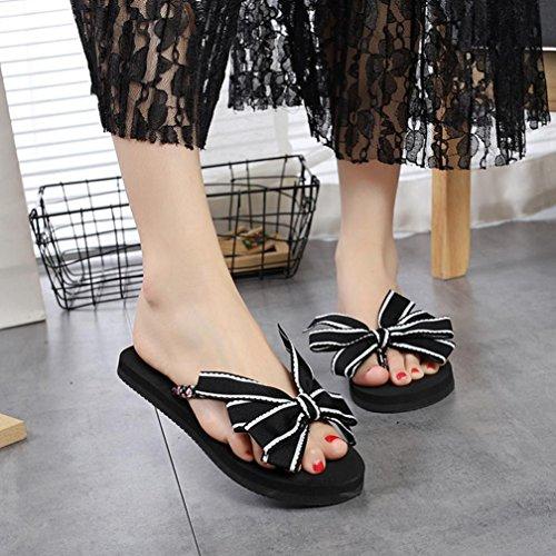 Beach Bow hunpta Summer Outdoor Flops Flip Women Black Indoor Sandals Shoes Slipper z5Cw6qH5x