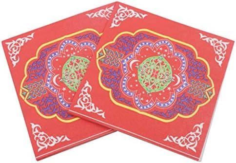 non-brand 20x Einweg Servietten Papierservietten Tissueservietten mit Ramadan Stil Bedruckt für Arabische Menschen - D