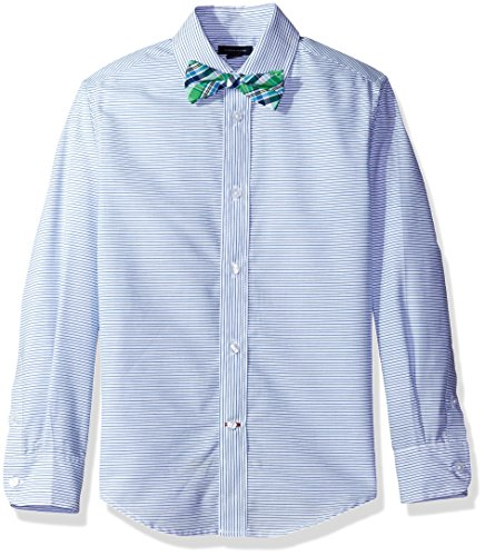 Tommy Hilfiger Big Boys' Long Sleeve Dress Shirt With Bow Tie, White Stripe, 16