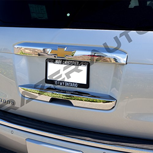Keyhole Putco Chrome Door Handles - Razer Auto Triple Chrome Plated Upper and Lower Tailgate Liftgate Door Handle Cover for 2015-2016 Chevy Chevrolet Tahoe & Suburban