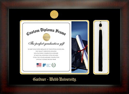 Gardner - Webb University 11 x 14 Mahogany Finish Infinity Diploma Frame with Tassel Box by Celebration Frames