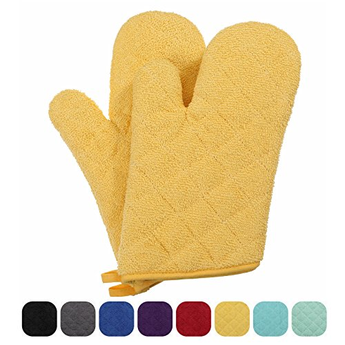 VEEYOO 100% Cotton Oven Mitts Terry Heat Resistant Oven Gloves for Kitchen Set of 2, 7 x 12'' Yellow by VEEYOO