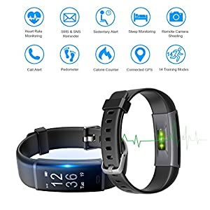 LETSCOM Fitness Tracker with Heart Rate Monitor Watch, Activity Tracker with Step Counter, Pedometer, Calorie Counter Watch for Android and iOS Smart Phone