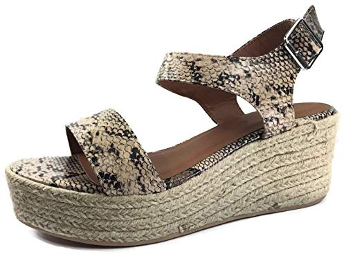 - Cityclassified Womens Wedge Espadrilles Jute Rope Trim Ankle Strap Open Toe Sandals, Snake Python, 7