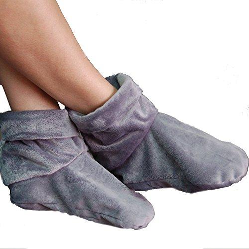 (Heated Microwaveable Foot Booties - Herbal Hot/Cold Deep Penetrating Herbal (Charcoal))