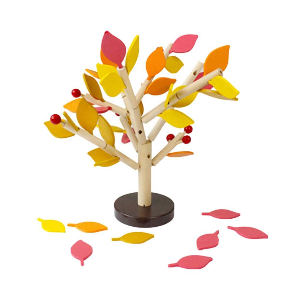 AkoMatial DIY 工芸 教育的 インタラクティブ 子供 おもちゃ 木製 挿入 葉 木 彫刻 イエロー 黄  B07KF8SWK4
