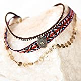 Kercisbeauty Summer Beach Boho Sequins and Cloth 3 layer Choker Necklace for Women and Girls,Teen girls,Gift for her,Birthday Anniversary Gift,Party,Beach Accessory