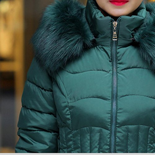 Faux Coat Green Misaky Warm Long Trench Hood Fur Parka Jacket Cotton Women's With Cz6Uzwxq4