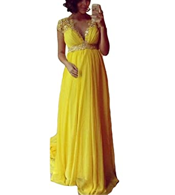 VikDressy 2017 Womens Yellow A-Line Lace Beaded Prom Dress Pregnant V-Neck Cap