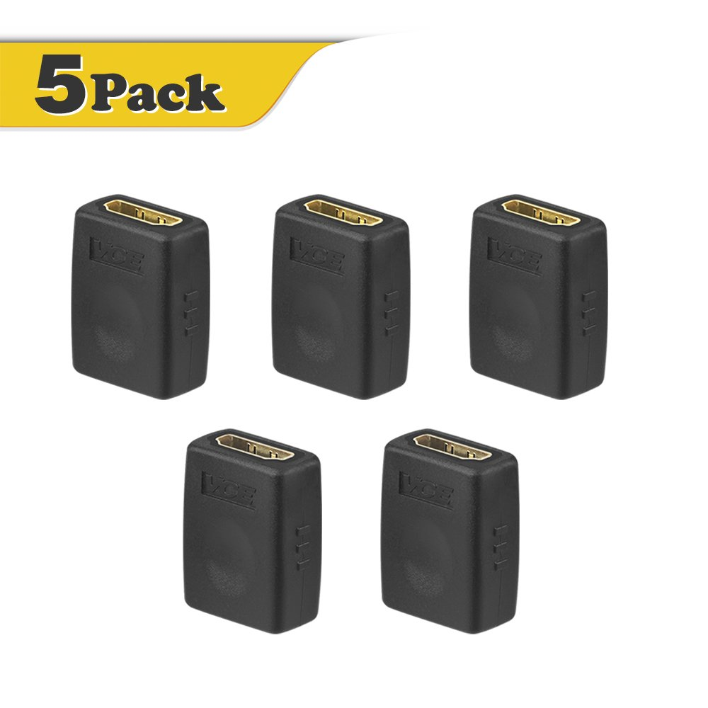 VCE (5-PACK) HDMI Female to Female Adapter, Gold Plated High Speed HDMI Female Coupler AD004-5P-CA