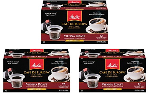 Melitta Single Cup Coffee for K-Cup Brewers, Cafe de Europa 12 Count (Pack of 3) (Vienna Roast)