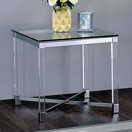 Furniture of America Simran Glass Top End Side Nesting Tables