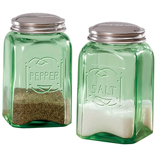 Miles Kimball Green Depression Style Glass Salt & Pepper Shakers ()