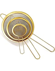 Fine Mesh Strainer 3 Pieces Set, Flour Sifter for Baking, Stainless Steel Clander, Matcha Tea Strainer, Gravy Separator, Stasher Sieve Pasta Strainers(Colorful/Black/Copper/Gold)