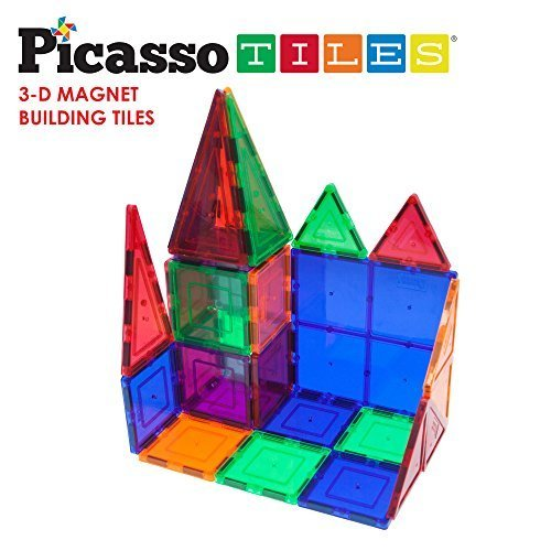 (PicassoTiles 100 Piece Set 100pcs Magnet Building Tiles Clear Magnetic 3D Building Blocks Construction Playboards, Creativity beyond Imagination, Inspirational, Recreational, Educational)