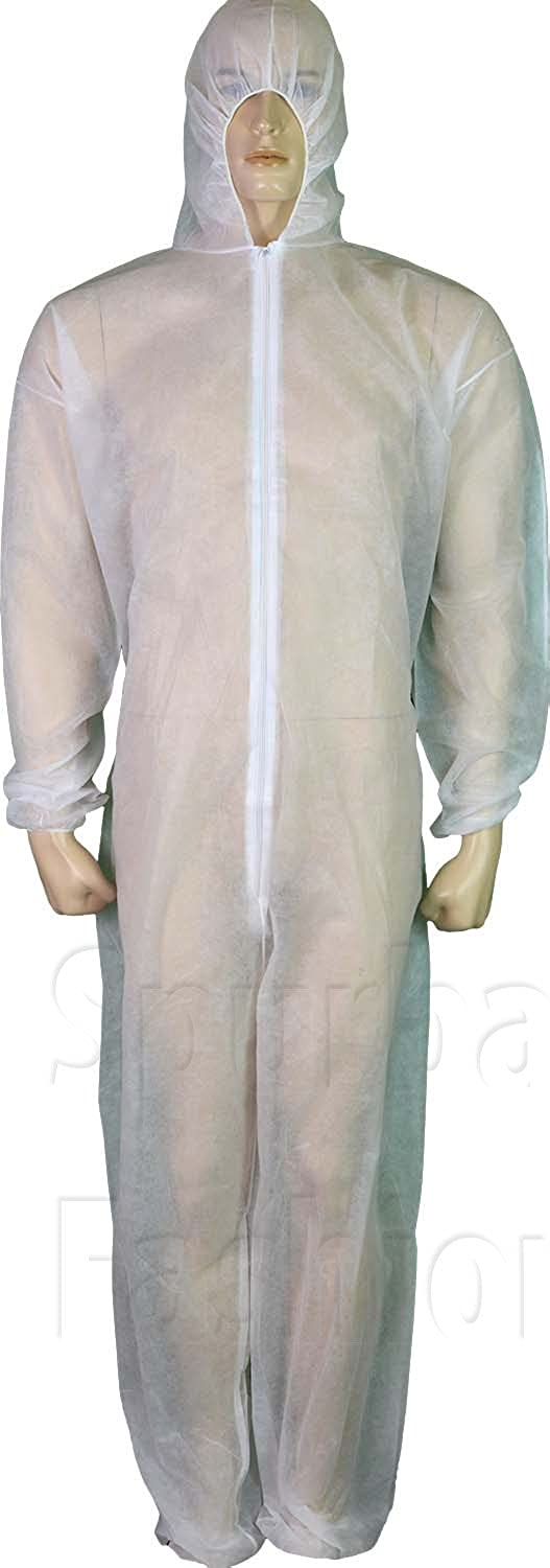 Fit For The Job Unisex Mens Womens Disposable Overalls Coveralls White Hooded Boiler Suit M To XL White)