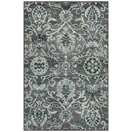 Better Homes and Gardens Distressed Scroll Living Room Area Rug or Runner, 2'6 x 3'10 Charcoal - Garden Scroll Floral Rug