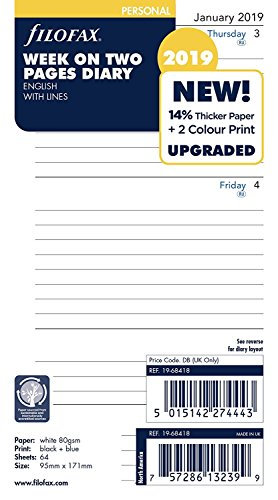 - Filofax 19-68418 Personal Week On Two Pages Lined 2019 Diary