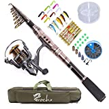 packable fishing rod - Croch Spinning Rod and Reel Combos Portable Carbon Telescopic Fishing Rod and Reel Set for Saltwater or Freshwater Bass (2.1M/6.89Ft)
