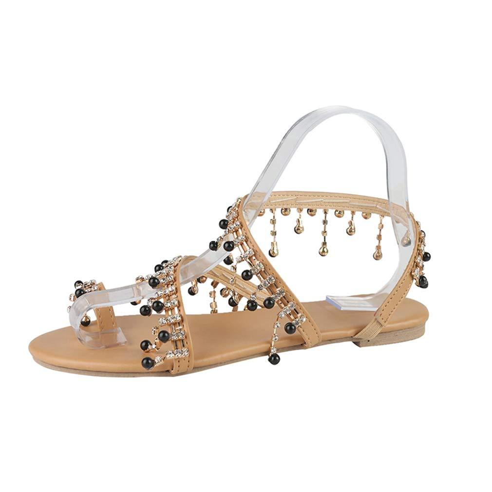EH-LIFE Women Sandals Leather Beading Flat Sandals Women Bohemia Beach Sandals Shoes Plus Size Black EU 35