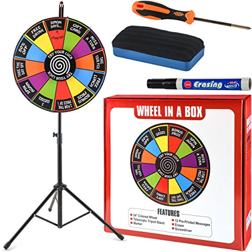 "24"" Round Color Spinning Prize Wheel Spin to Win Game Kit Editable Magnetic Board with Dry Erase Marker and Stand by Wheel In A Box"