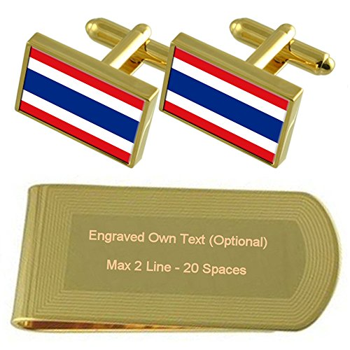 Cufflinks Gift Clip Gold Money Set tone Engraved Thailand Flag vWqtwaUB7