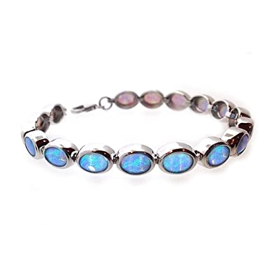 Paul Wright Jewellery Blue Opal Bracelet, Sterling Silver with Vibrant Colour Opal