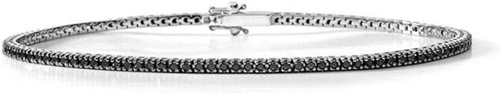 Remo Gammella - Pulsera unisex de tenis de plata 925 y circonitas, corte brillante y diamante de 3 mm, colores blanco, negro, rojo, verde, azul o negro, talla 19,5 cm