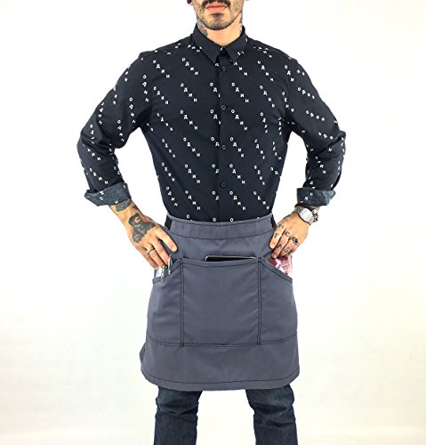 (Under NY Sky Half Armor Gray Apron with Durable Twill – Bistro Apron, Waist Apron Adjustable for Men and Women – Professional Barista, Bartender, Mixologist, Florist, Server Aprons)