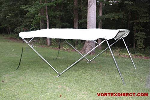 THE VORTEX COMPANY ホワイトデッキボート ボウ4本 ビミニトップ 長さ12フィート 幅97-103インチ 高さ54インチ コンプリートキット フレーム キャノピー 金具