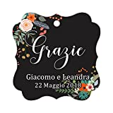Darling Souvenir Wedding Favor Tag Grazie Wedding Thank You Gift Custom Hang Tags-Floral Black-50 Tags