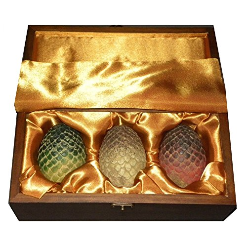 Game Thrones Dragon Egg Replica Set Wooden Box Ee Exclusive