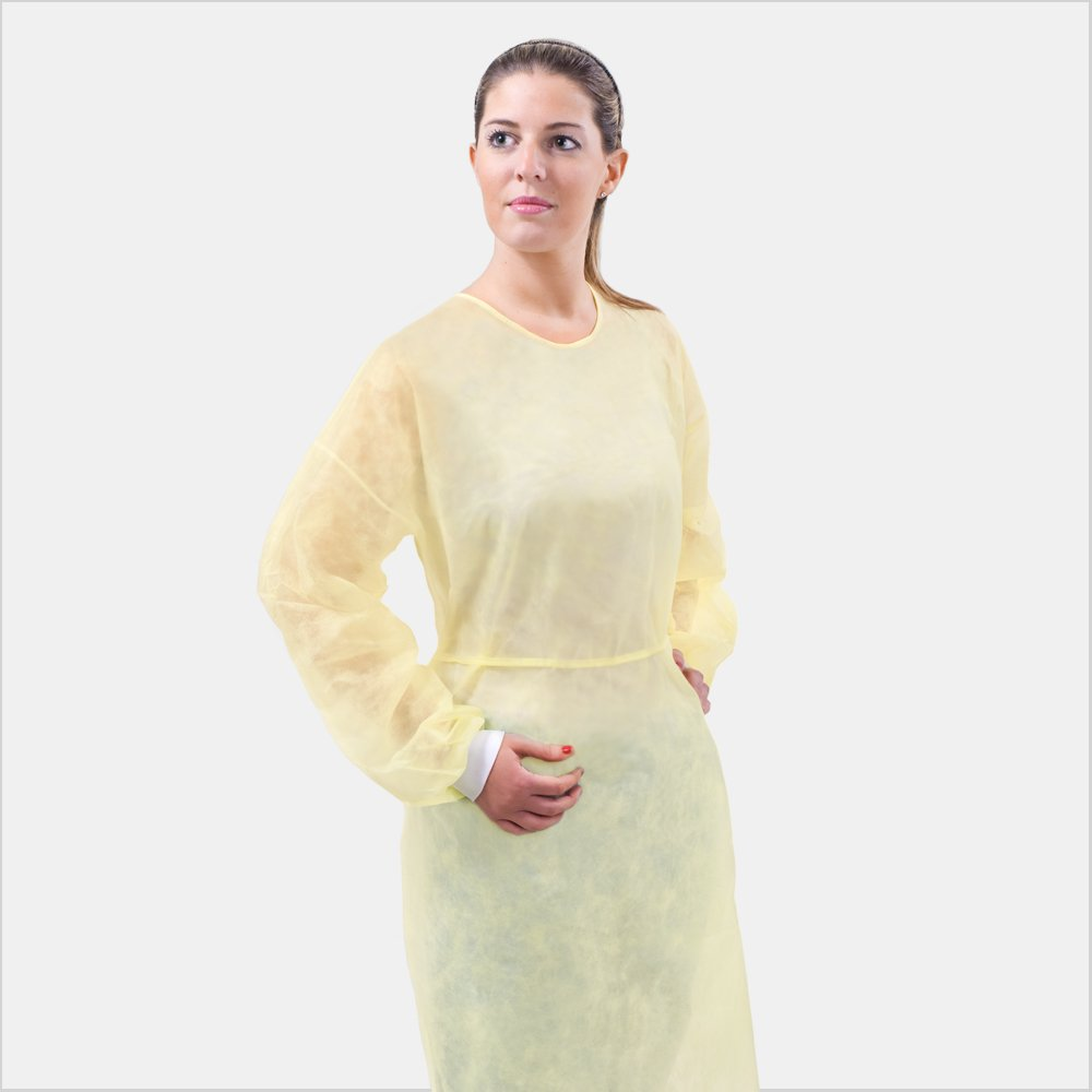 Tronex Spunbond Isolation Gown with Knitted Cuffs, Soft Yellow, Unisize (50) by TRONEX (Image #1)