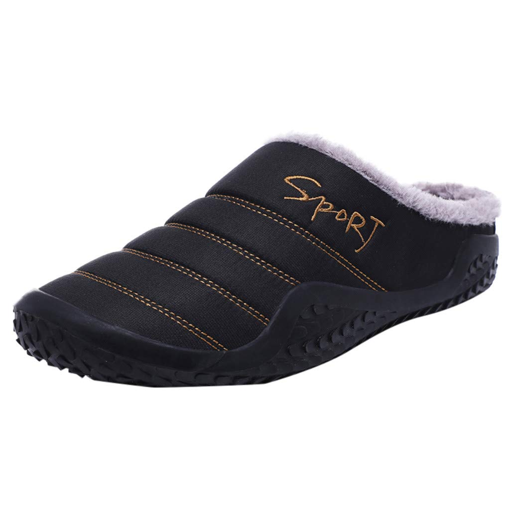 Shusuen Women's House Slippers Comfort Fuzzy Winter Home Shoes Slip On Indoor Outdoor Anti Slip Slippers Black by Shusuen