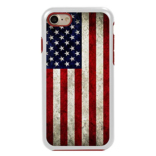 Guard Dog Old Glory Rugged American Flag Hybrid Phone Case for iPhone 7/8 with Guard Glass Screen Protector, White with Red Silicone ()